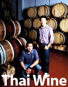 Tasting thai wines from the barrel at PB valley winery